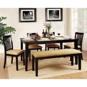 dining room set with bench. Weston Home Tibalt 6 Piece Rectangle Black Dining Table Set  60 in with Mission Kitchen Tables Benches