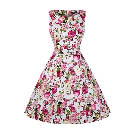 Ihot Women Summer Floral Print Retro Vintage 50s 60s Casual Party