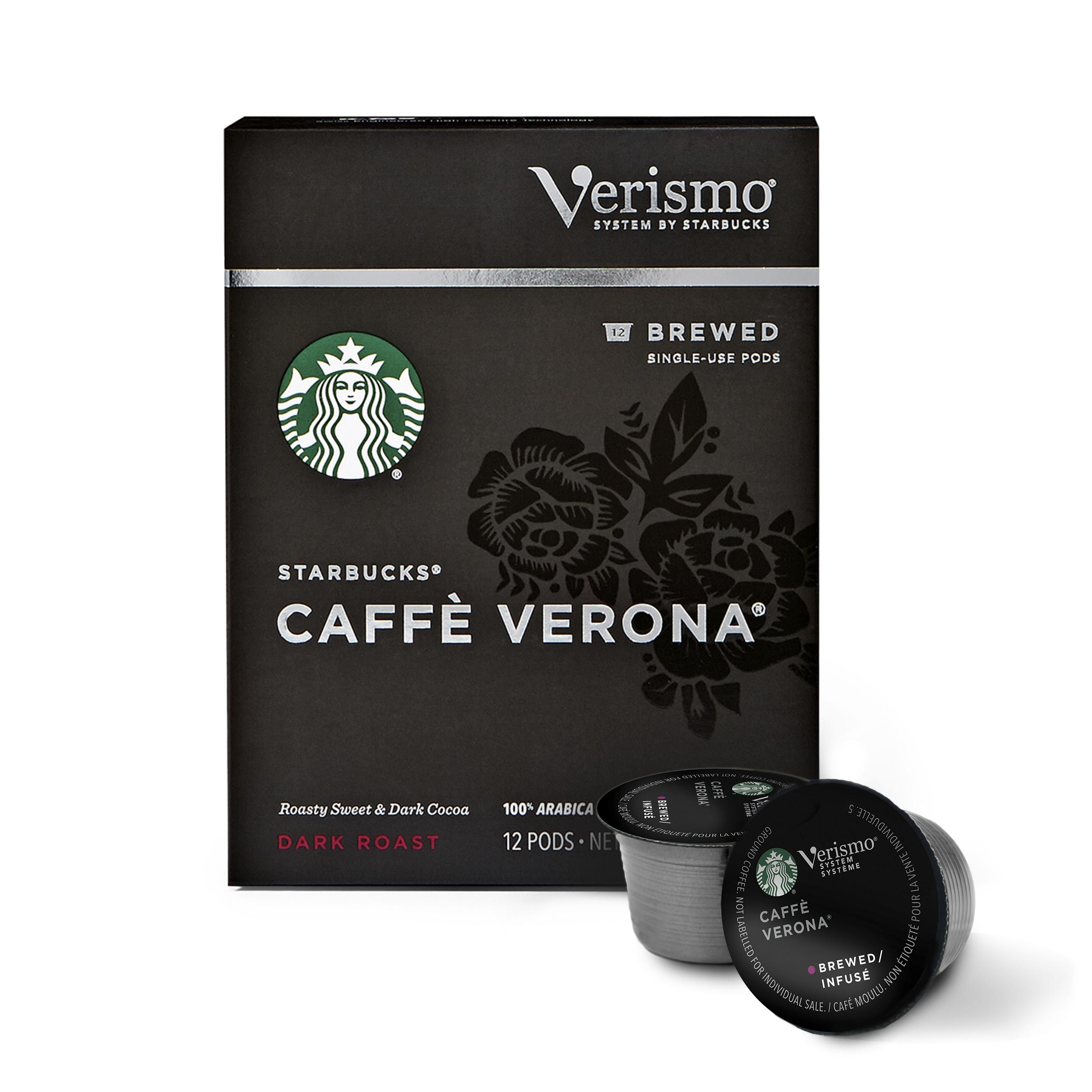 Starbucks Verismo Caffe Verona Brewed Coffee Single Serve Verismo Pods, Dark Roast, 6 boxes of 12 (72 total Verismo pods)