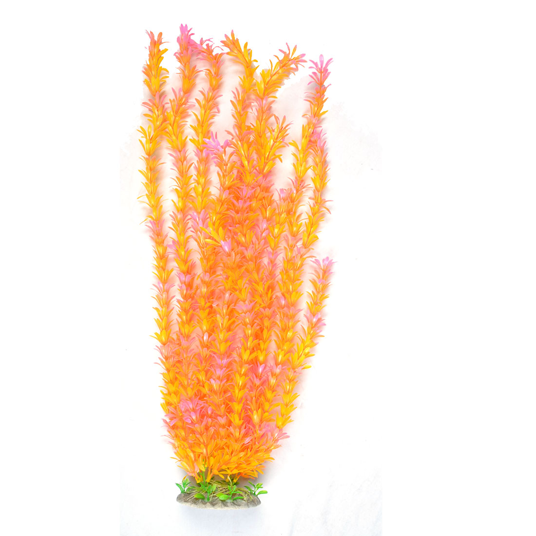 Unique Bargains Unique Bargains Decorative Fish Tank Aquarium Ceramic Base Orange Pink Water Plant