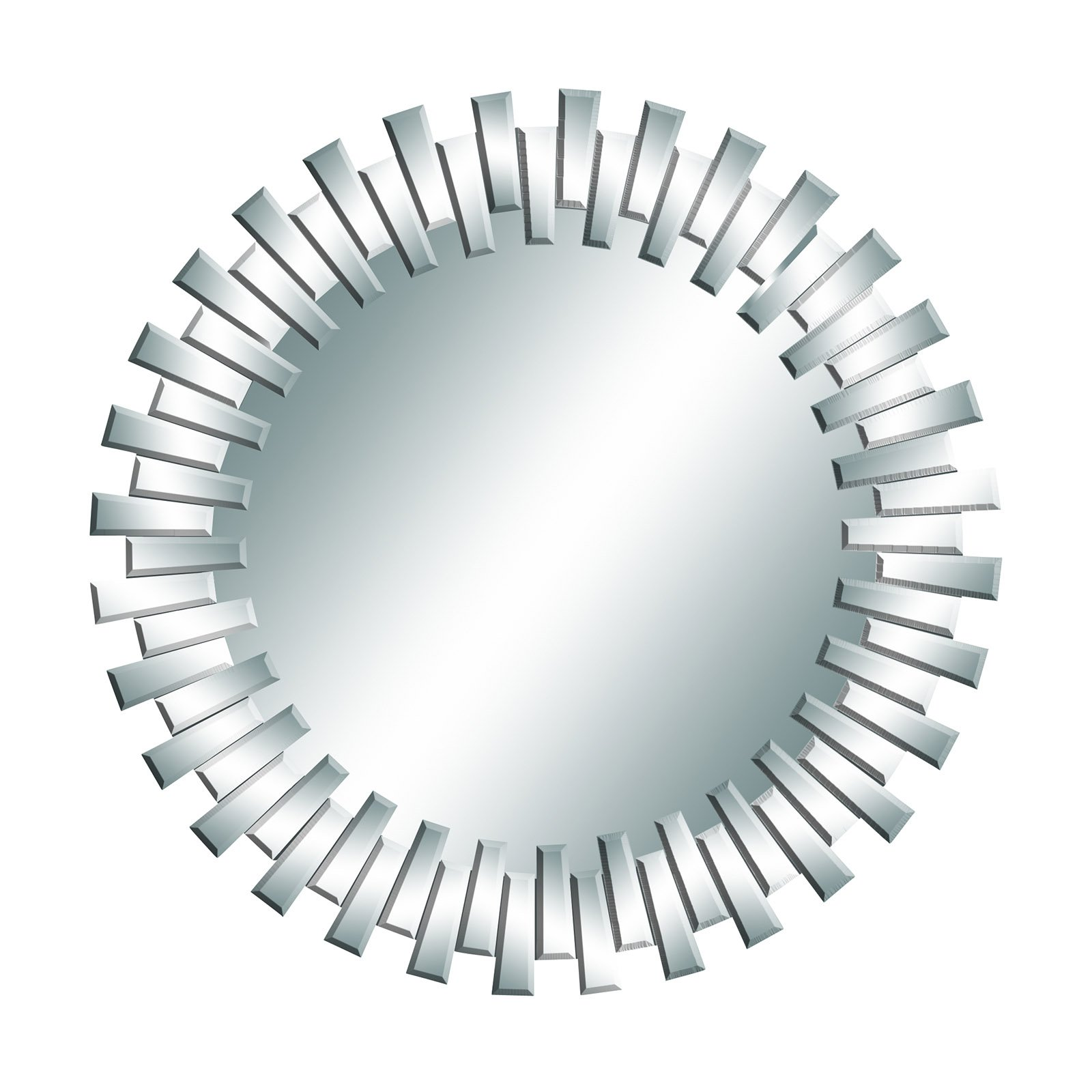Style Round Mirror Silver Frame Staggered Shapes Wall Modern Decor 53894