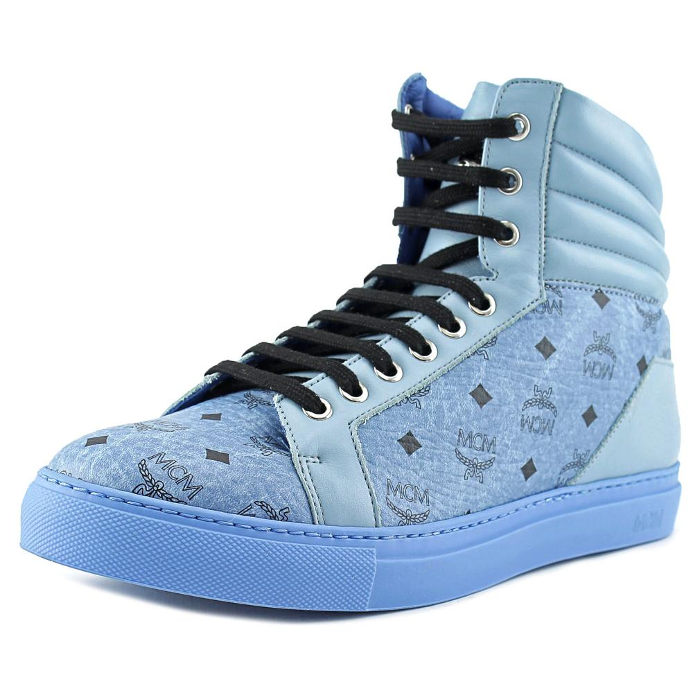 MCM Carryover High Men  Round Toe Leather Blue Sneakers