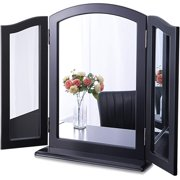 Chende Tabletop Tri-fold Vanity Mirror Black, Large 3 Way Makeup Mirror for Dressing Room