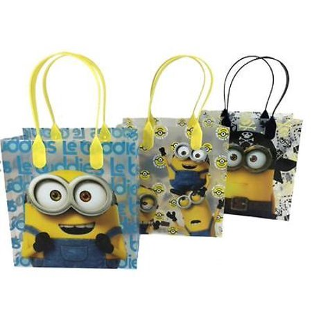 12PCS Despicable Me Minions Goodie Party Favor Gift Birthday Loot Bags Licensed (Purple Minion Party Supplies)
