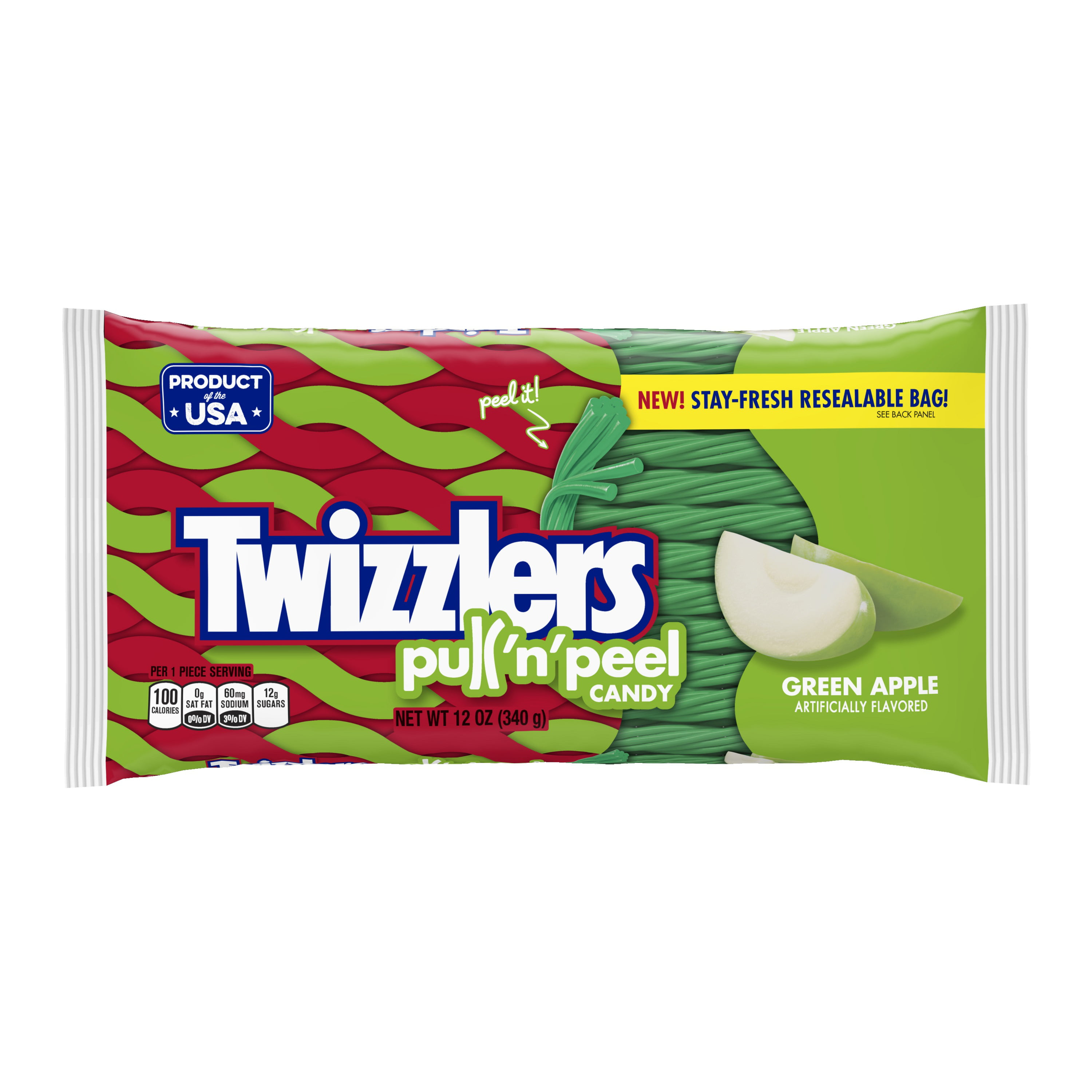 twizzlers pull n peel green apple flavored candy 12 oz