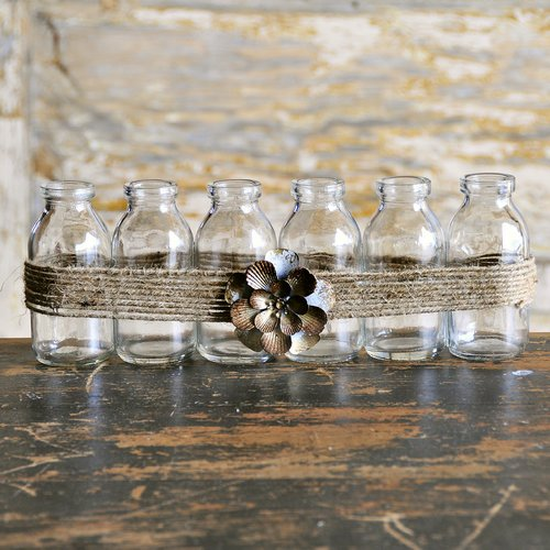 August Grove Glass Decorative Bottle with Flower (Set of 6) by