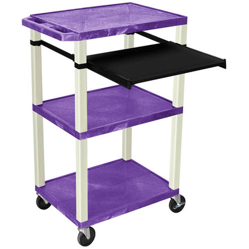 H. Wilson Tuffy 3-Shelf A/V Cart with Electric, Black Front Pullout Shelf, Purple Shelves and Putty Legs