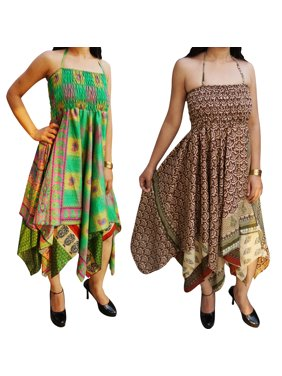 61cdc2a043d9 Product Image Mogul Lot Of 2 Womens Handkerchief Hem Beach Dress Recycled Vintage  Sari Boho Summer Halter Sundress
