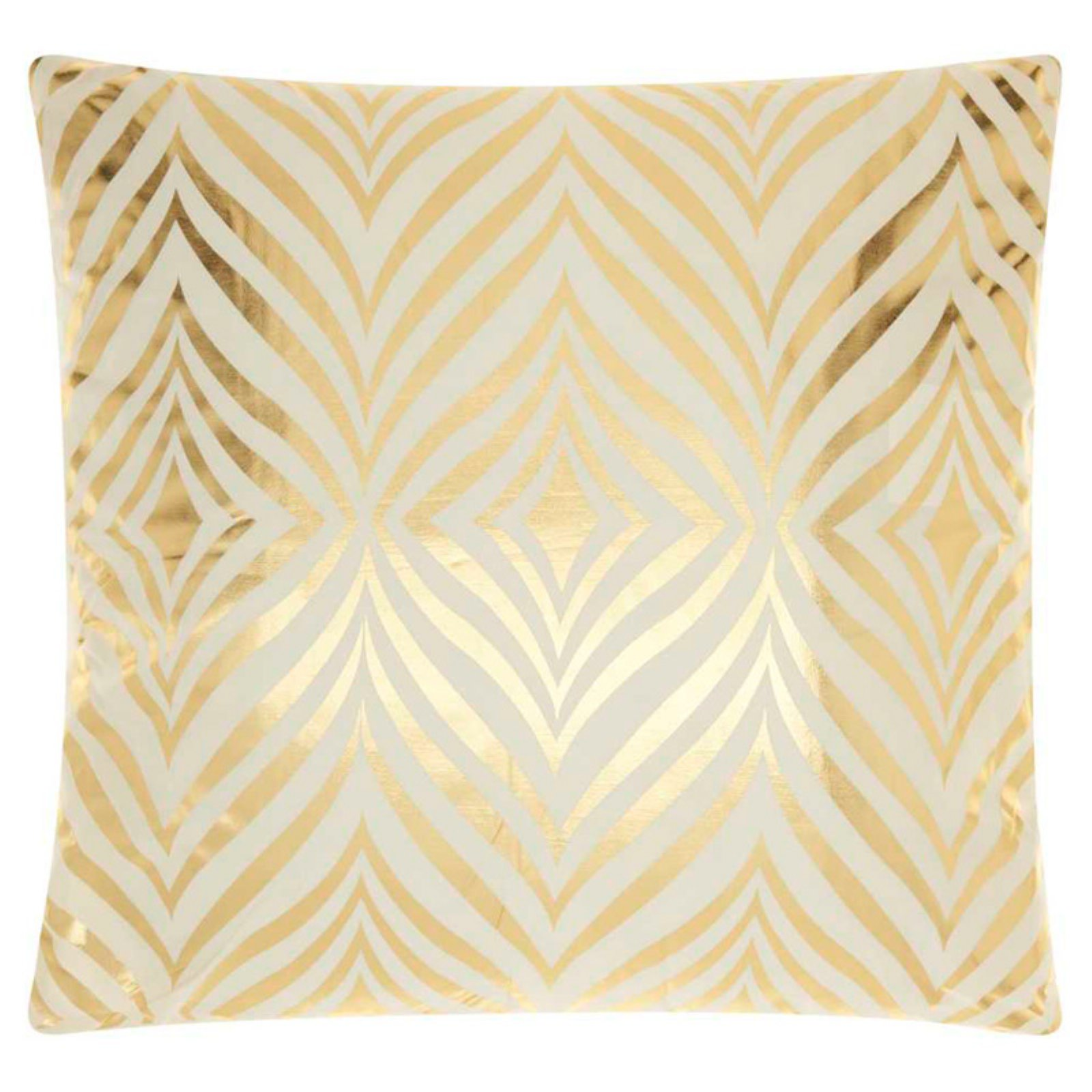 "Nourison Luminecence Diamond Zebra Decorative Throw Pillow, 18"" x 18"", Ivory Gold"