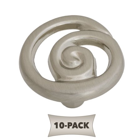 10-Pack Ornate Single Swirl Kitchen Cabinet Hardware Knob 1-1/4, Satin Nickel Modern and affordable high quality hardwareGoes great with stainless steel appliances in the kitchen and nickel fixtures in the bathroom1.35  D X 0.8 T 0.7 oz 1  mounting screw includedLifetime Warranty