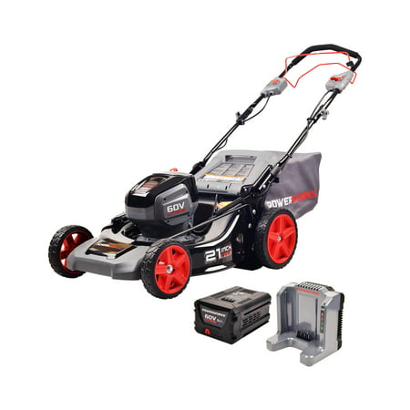 Powerworks 60V 21-inch SP Mower, 5.0Ah Battery and Charger Included,...