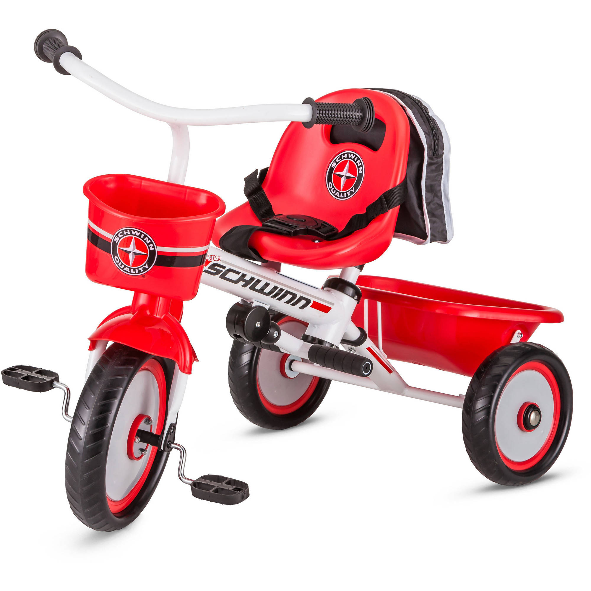 fb0063ac466 Schwinn Easy-Steer Tricycle with Parent Assist Handle, Red - Walmart.com