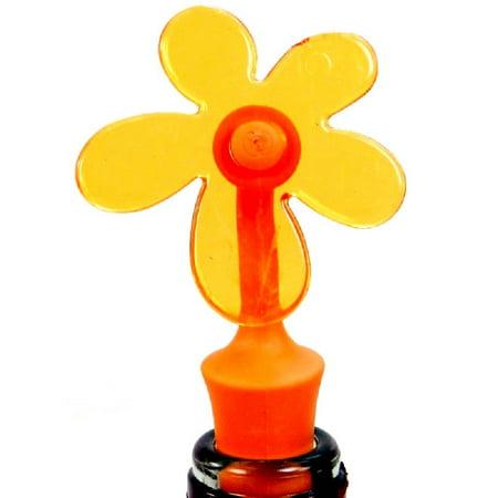 Wine Bottle Topper - Spring Fling - Orange Flower