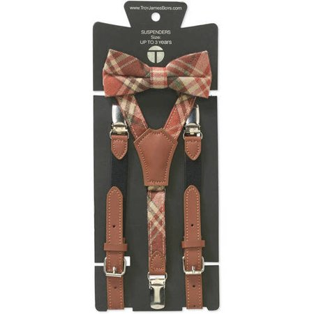 Genevieve Goings Collection Boys Burnt Orange Bow Tie and Leather Suspenders 2 pc Set
