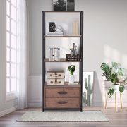 Clearance! 4-Tier Display Shelves Bookcase, Industrial Bookshelf Storage Organizer, Heavy Duty Simple Bookcase with Storage Drawers, Free Standing Shelf Unit with 4 Shelves for Home Office, Q13876