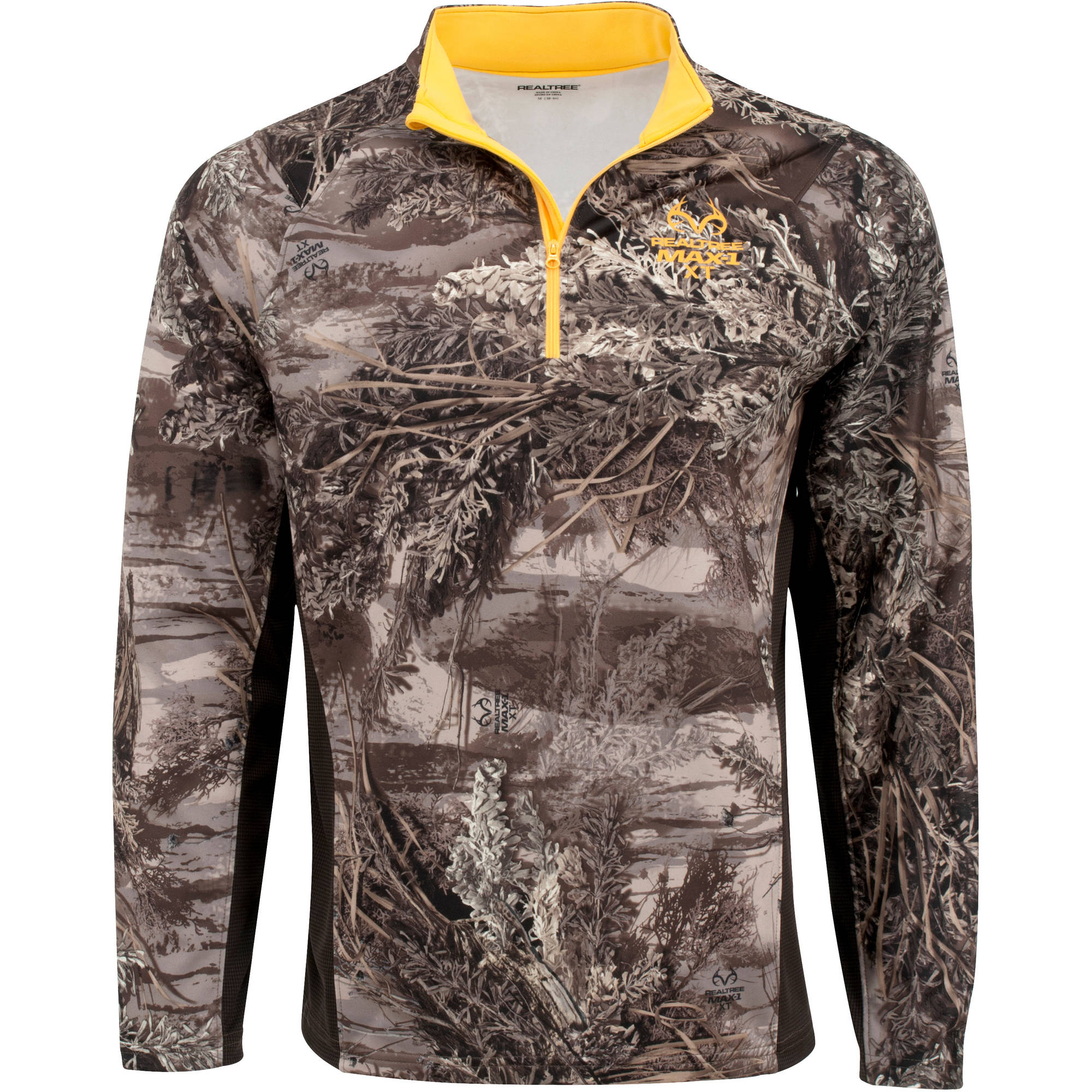 Mens 1/4 Zip Performance Long-Sleeved Tee, Multiple Patterns