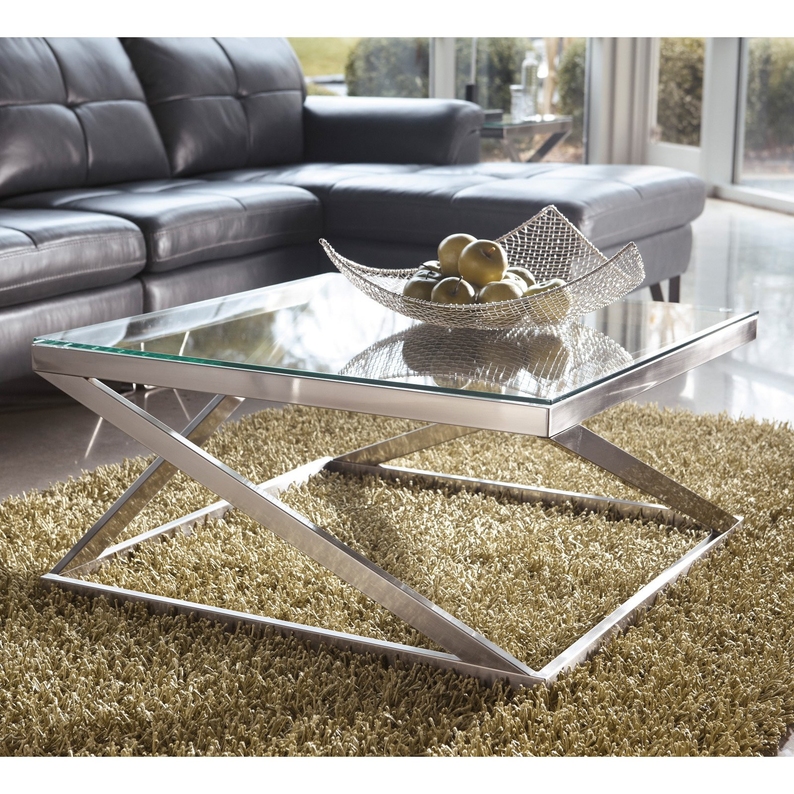 Click here to buy Signature Design By Ashley Coylin Brushed Nickel Square Cocktail Table by Ashley Furniture.