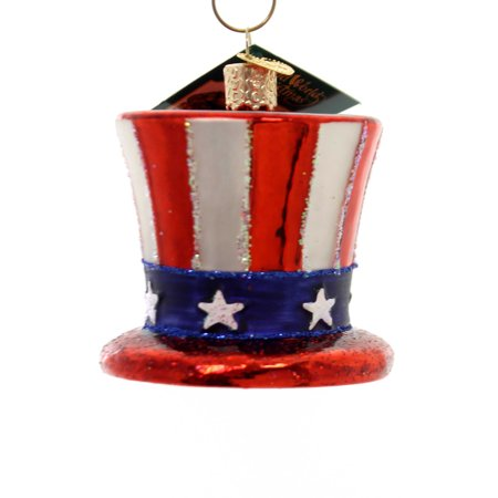 Old World Christmas UNCLE SAMS HAT Glass Ornament Patriotic USA 4th 36206 (Patriotic Christmas Ornaments)