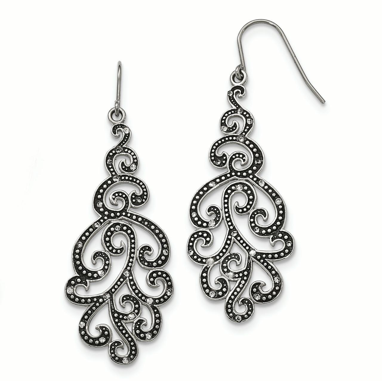 Stainless Steel Polished Antiqued Crystal Shepherd Hook Earrings - image 4 of 4