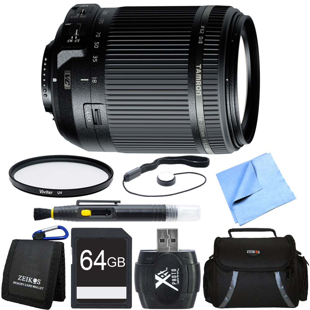 Tamron 18-200mm Di II VC All-In-One Zoom Lens for Nikon Mount 64GB Memory Card Bundle
