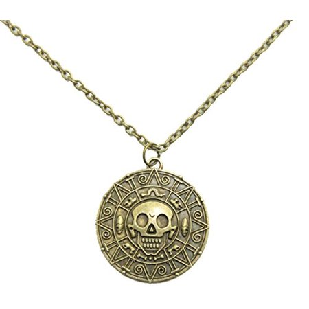 Inspired By Pirates of the Caribbean Movies Cursed Aztec Coin Medallion Necklace Skull Necklace New Version (antique brass - Skull Head Necklace