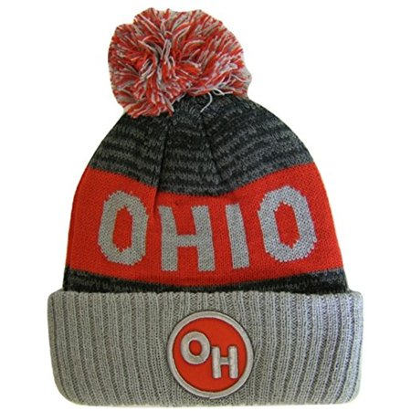 Ohio OH Patch Ribbed Cuff Knit Winter Hat Pom Beanie (Gray/Red Patch) (Ohio State Knit Hat)