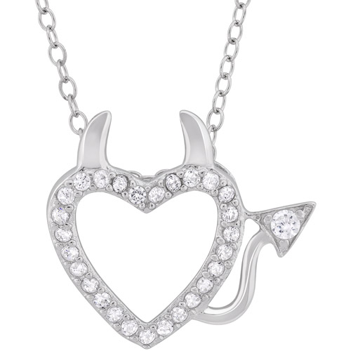 CZ Sterling Silver Devil Heart Pendant, 18""