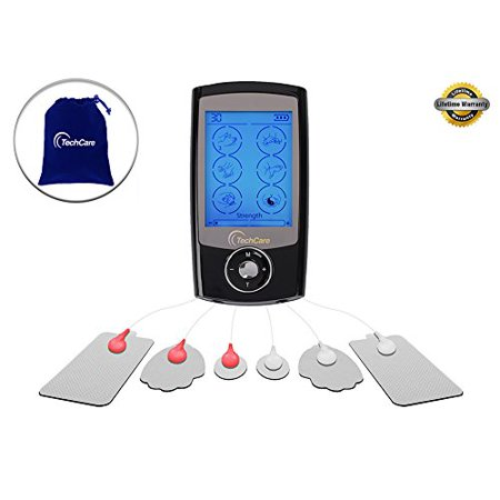 TechCare Pro TENS Unit 24 Modes Best Portable Massager Back Neck Stress Sciatic Pain, Handheld Full Body Palm Plus Digital Pulse Impulse Professional Micro Massager
