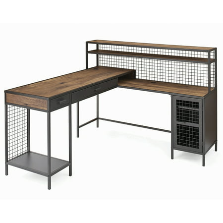 Better Homes & Gardens Lindon Place L-Shaped Desk with Cage, Vintage Oak Finish ()