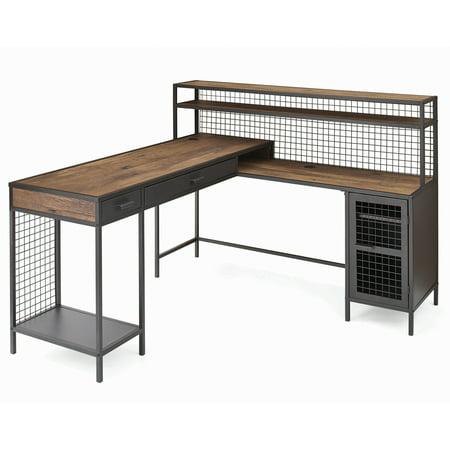 Hon Company Oak Desk - Better Homes & Gardens Lindon Place L-Shaped Desk, Vintage Oak Finish
