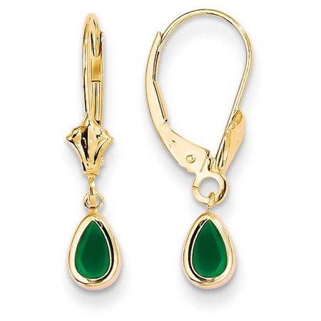 (14k Yellow Gold 6x4 Pear Bezel Set Emerald Post Stud Earrings - May)