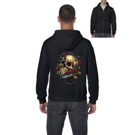 Skull Hoodie Skull With Roses  Mens Hoodies Zip Up Sweater