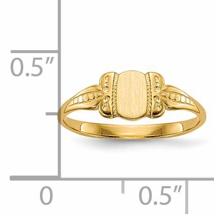 14K Yellow Gold Childs Signet Ring - image 5 de 5