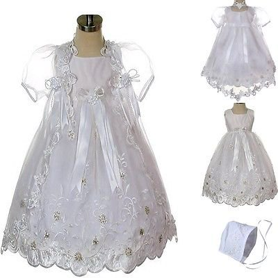 New Baby Infant Girl Toddler Christening Baptism Bonnet Formal Dress White 0-30M (Next Christening Dresses)