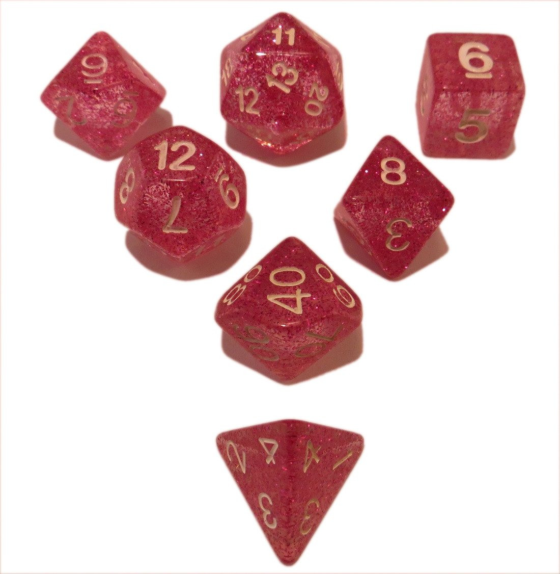 Pink Glitter - Pack of 7 Polyhedral Dice (7 Die in Set) | Role Playing Game Dice | D4, D6, D8, D10, D%, D12, and D20 -