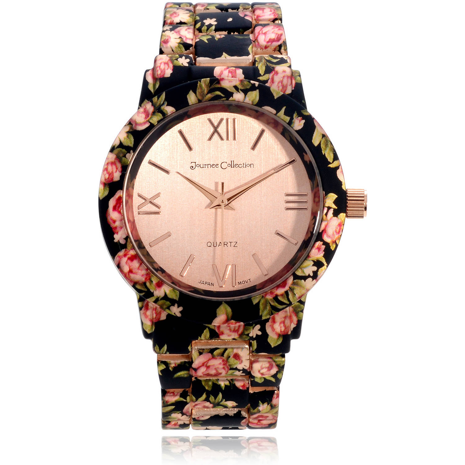Journee Collection Women's Stainless Steel Floral Prink Link Fashion Watch, Black