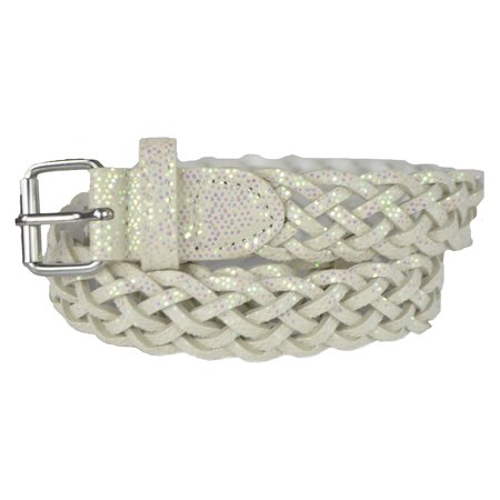 Girls Belt - Colorful Metallic Glitter Braided Faux Leather Belt for Kids by Belle Donne - White X-Large](Bat Girl Belt)