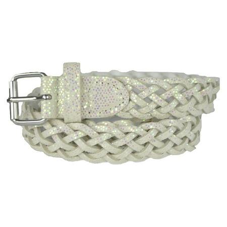 Braided Metallic Leather Belt - Girls Belt - Colorful Metallic Glitter Braided Faux Leather Belt for Kids by Belle Donne - White X-Large