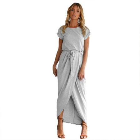 Women Belted Long Maxi Evening Party Cocktail Ladies Summer Beach Sun Dress Short Sleeve Skirt