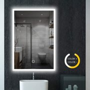 Reactionnx 32 x 24 Inch Bathroom Mirror Anti-Fog Wall Mounted Makeup Mirror with LED Light Over Vanity