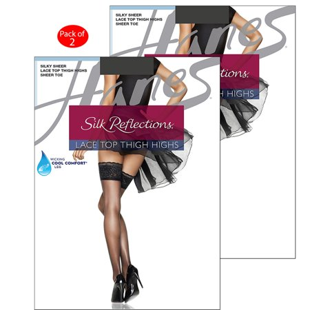 07c0927c8 Hanes - Hanes Silk Reflections Lace Top Thigh Highs