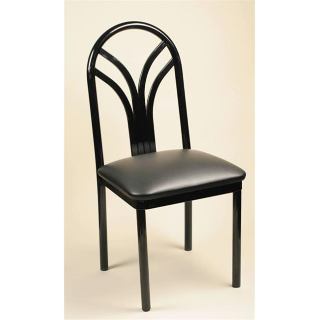 Alston Quality 190 BLK-Blue Ridge Lily Metal Side Chair With Upholstered Seat Black Frame