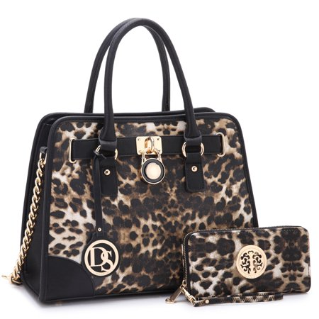 Dasein  Medium Faux Leather Leopard Chain Strap Satchel Handbag with Matching (Bags Medium Leather Bags)
