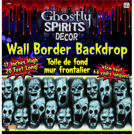 20 Foot Long Screaming Faces Wall Border Halloween Party Decoration One Size