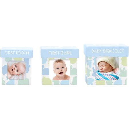 Tiny Ideas Baby Keepsake Boxes, Blue Animals (Baby Theme Ideas)
