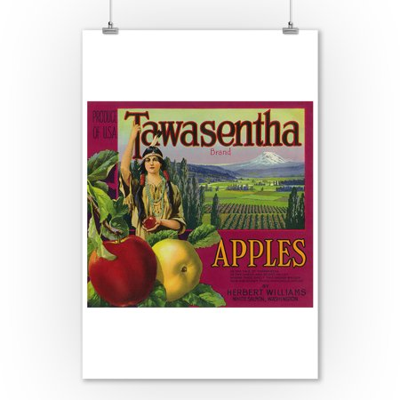 Tawasentha - Native American Princess - Mt. Hood - Apple Crate Label (9x12 Art Print, Wall Decor Travel Poster)
