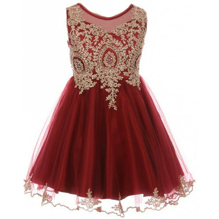 Little Girls Dress Sparkle Rhinestones Holiday Christmas Party Flower Girl Dress Burgundy Size 4  (M10BK49)](Girls Size 7 Christmas Dresses)