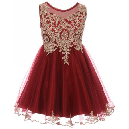 Little Girls Dress Sparkle Rhinestones Holiday Christmas Party Flower Girl Dress Burgundy Size 4  (M10BK49)