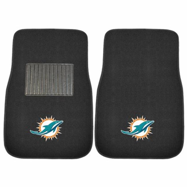 2 Piece Miami Dolphins NFL Embroidered Car Mat Set