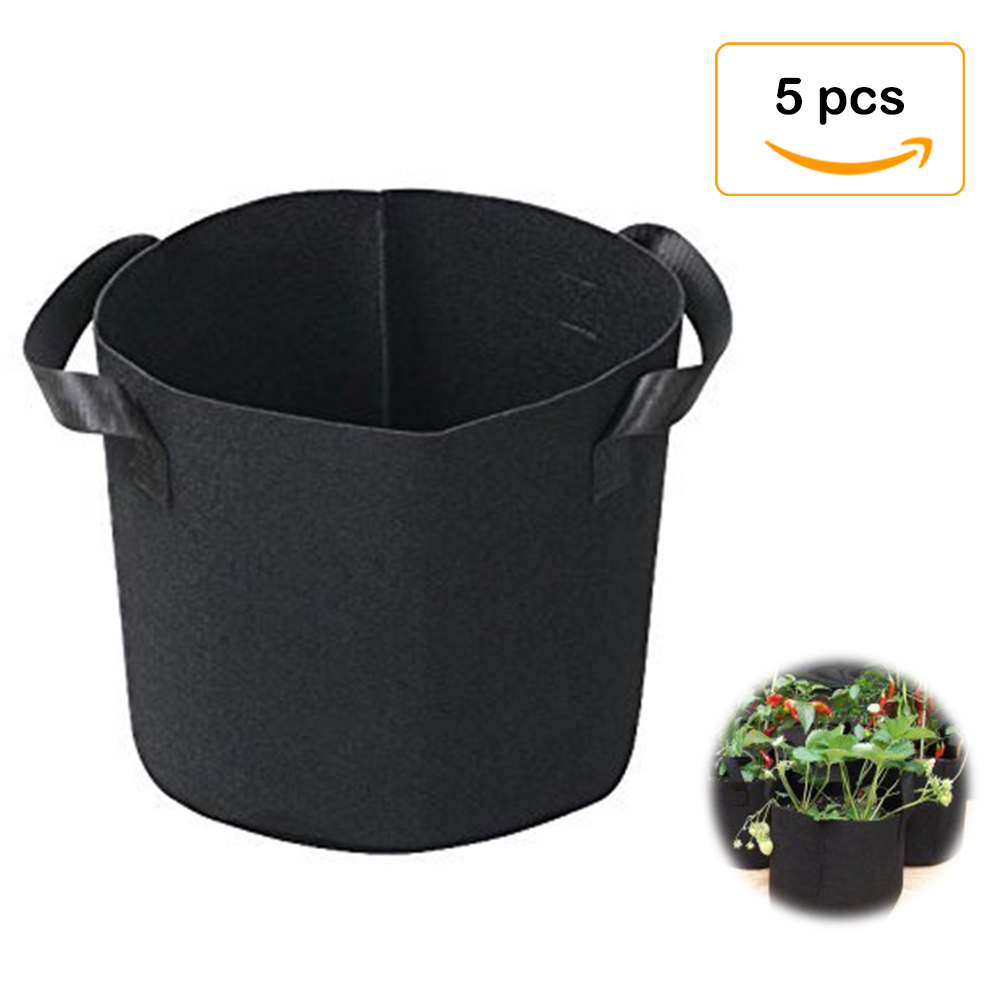 Zeen 5-Pack 5 Gallon Grow Bags Aeration Fabric Pots with Handles for Nursery Garden and Planting
